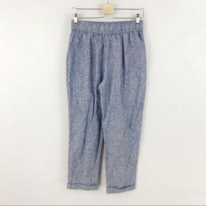 Zara Blue Linen Blend Trouser Casual Pants